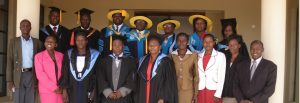 Kibabii university staff pose for photo after orientation of new students