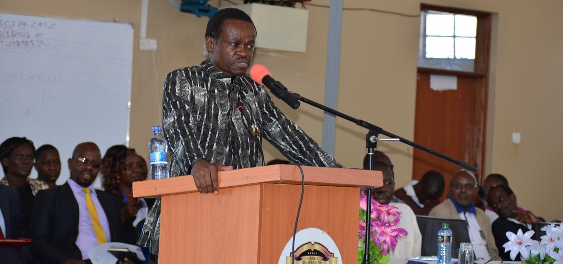 Prof. P.L.O Lumumba talk to staff and students