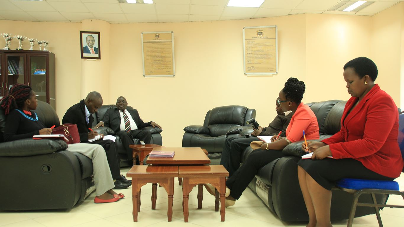 The Vice Chancellor Kibabii University Prof. Ipara Odeo during an Interview with Standard Media Group Journalists