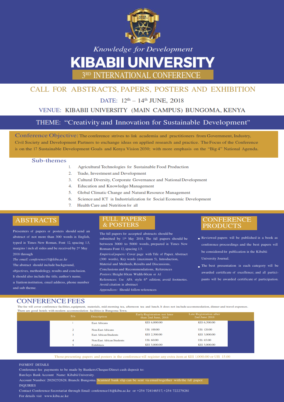 3rd Kibabii University International Conference