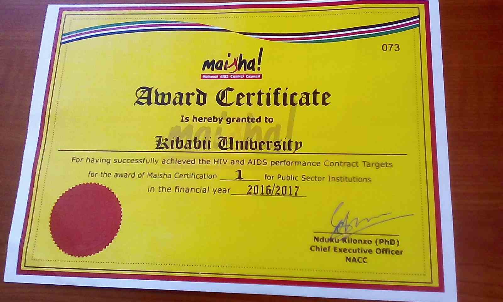 Directorate of AIDS Control Unit Certification by National AIDS Control Council