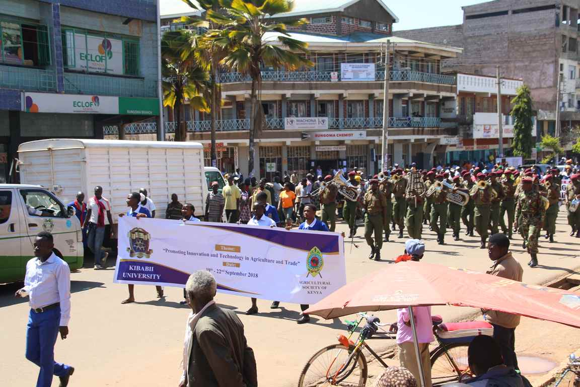 Kibabii University in the Sensitization Procession of the Bungoma A.S.K Satellite Show