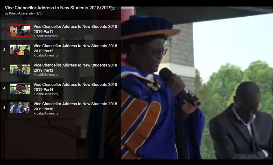 Video: Vice Chancellor Address to New Students 2018/2019
