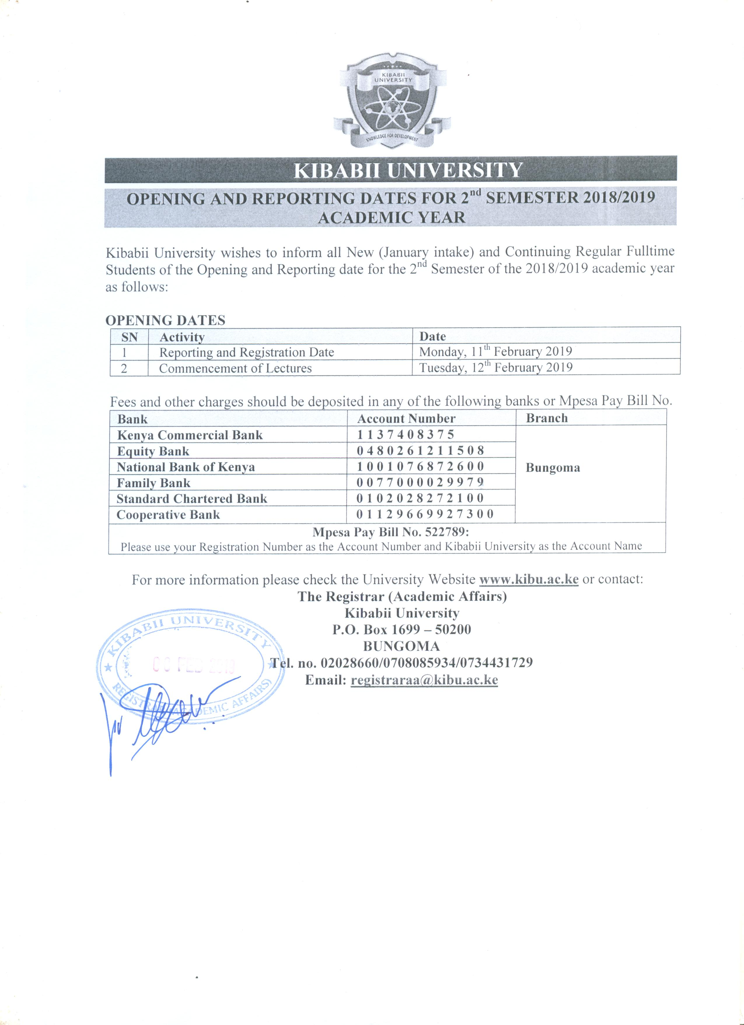 Opening and Reporting Dates for 2nd Semester 2018/2019 Academic Year