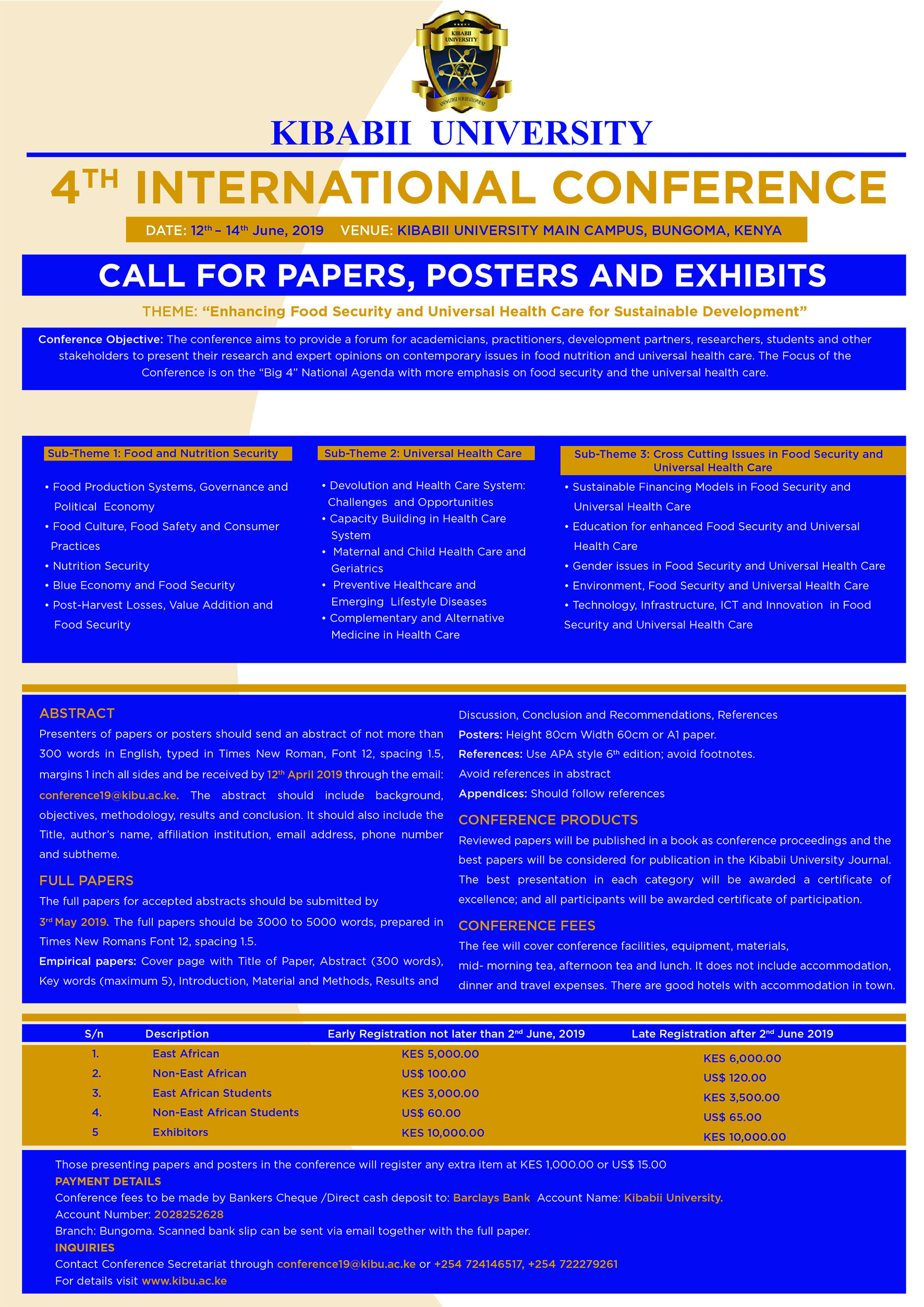 Extension of Abstracts Submission for the 4th Kibabii University International Conference