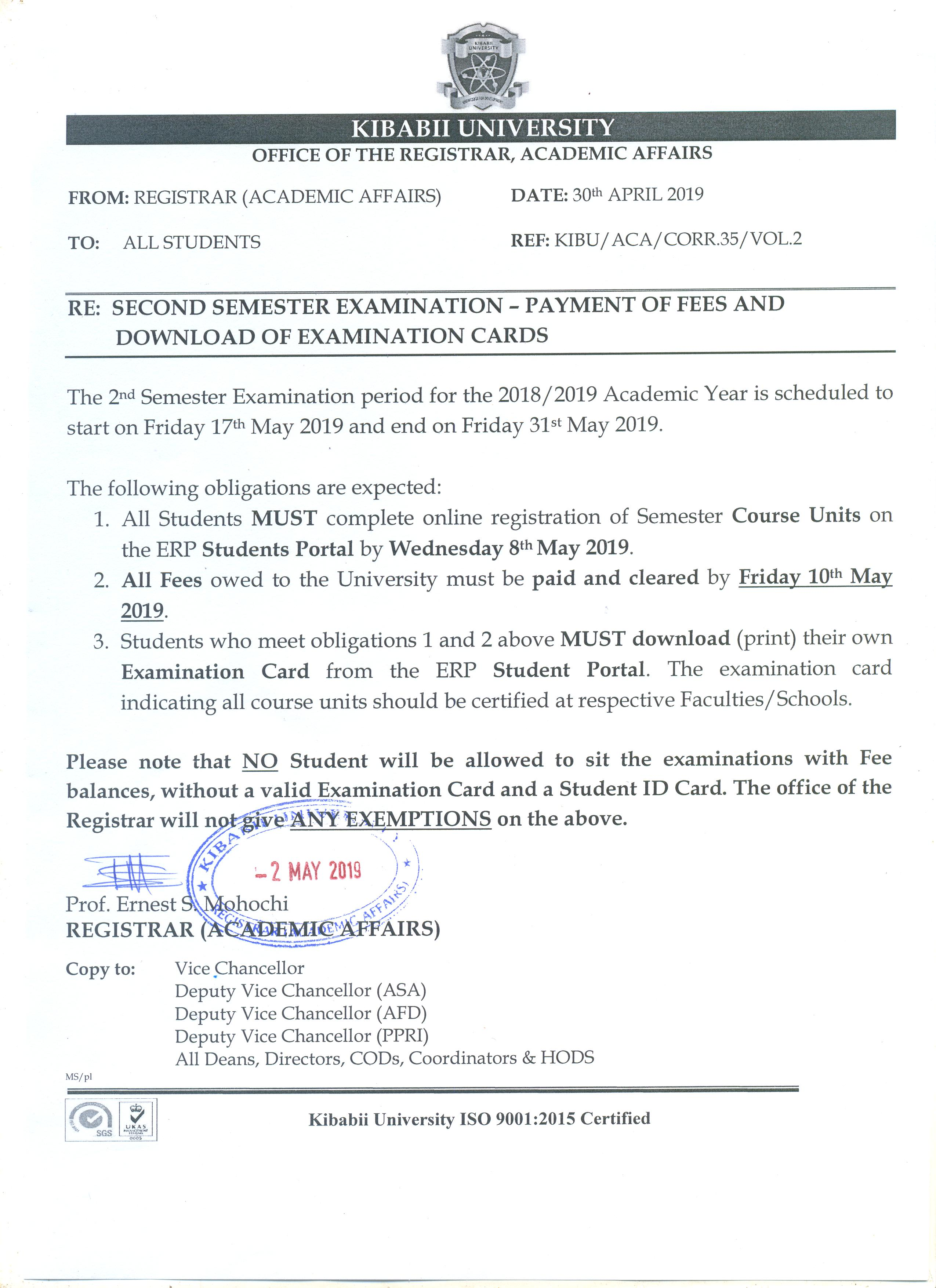 Second Semester Examination - Payment of Fees and Download of Examination Cards