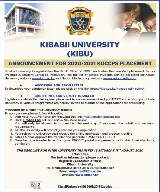2020/2021 KUCCPS Students Inter-University Transfer