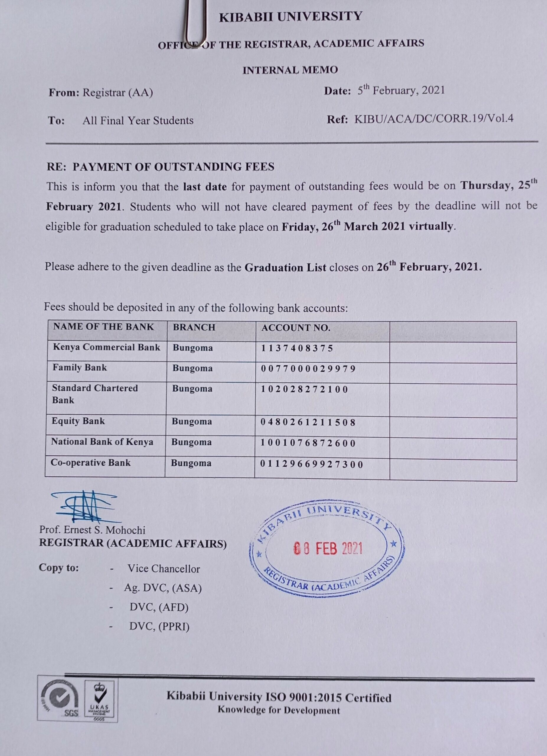 Payment of Outstanding Fees